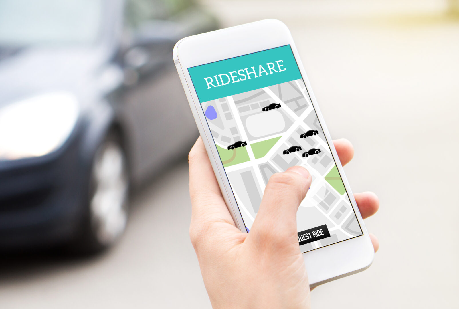 A smartphone with the Rideshare app open